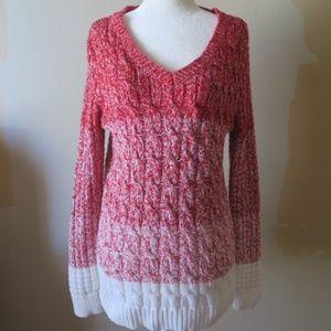 Liz Claiborne Red Ombre Color block sweater